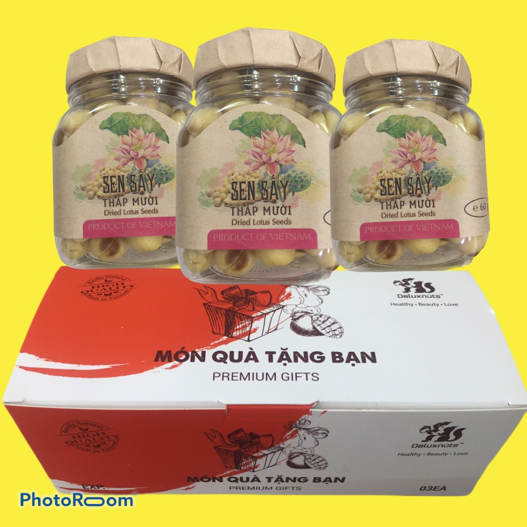 [:vi]HỘP QUÀ TẶNG 3 HŨ SEN SẤY 60g[:en]GIFT SET WITH 3 JARS OF DRIED LOTUS SEEDS[:]